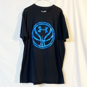 Under Armour T- Shirt Black/Blue Size Small